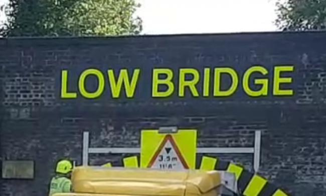 This is the fourth time a Lorry jammed itself in the tunnel that is marked 'low bridge'