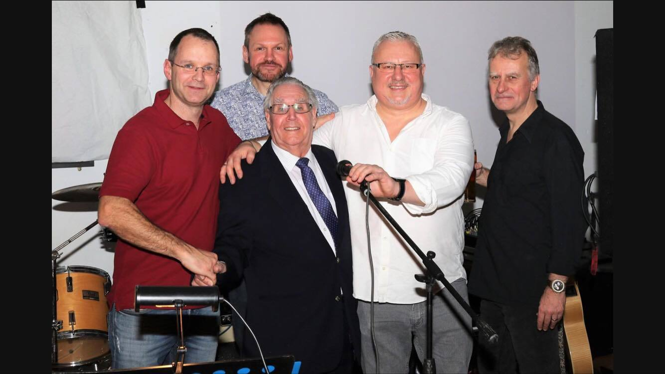 Mr Edwards with The Four Horsemen, Brad Smith - vocals/guitar, Geoff Robson - vocals/guitar, Ed Sylvester - drums, Dan Rowe - bass guitar