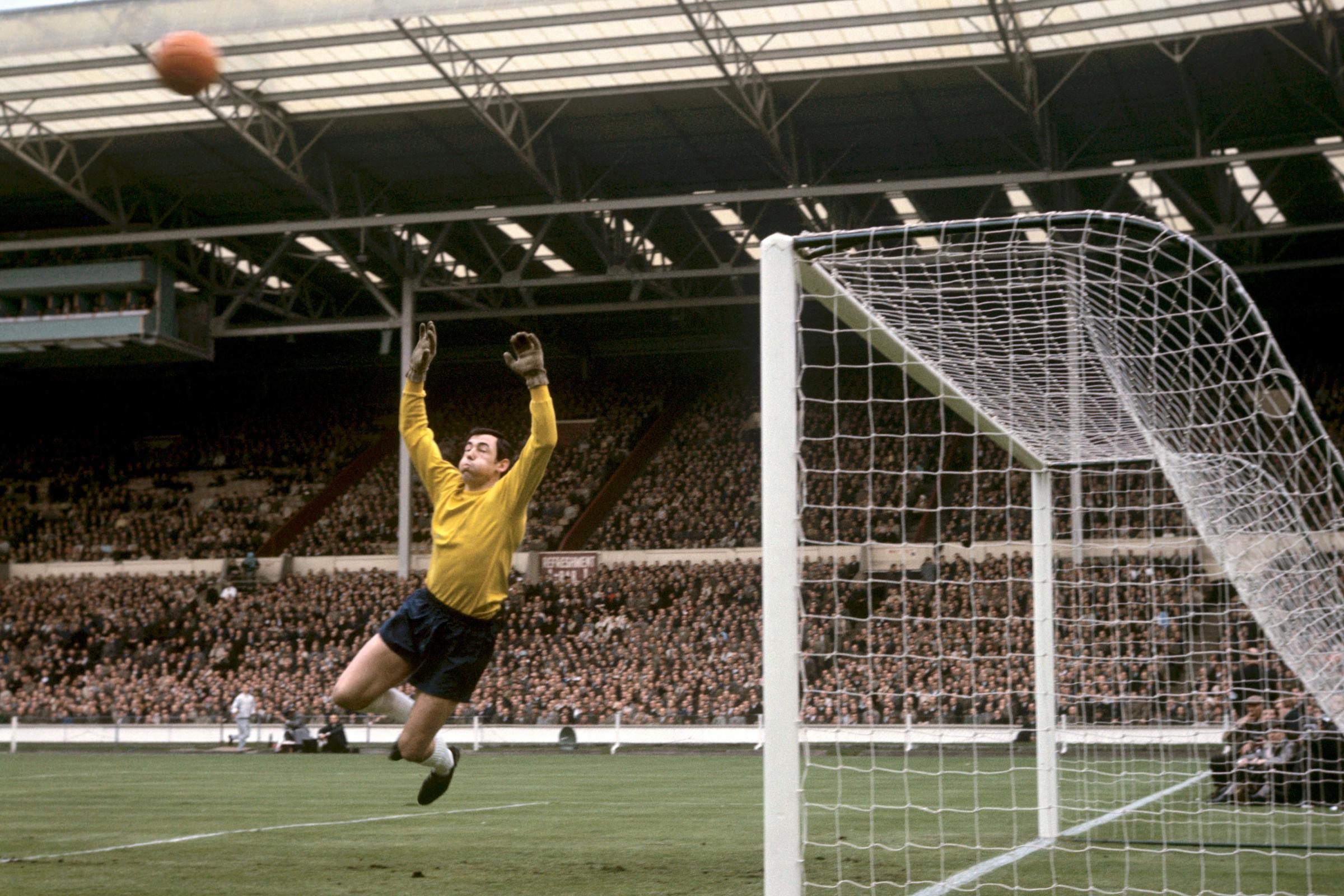 Gordon Banks in action for England against Hungary