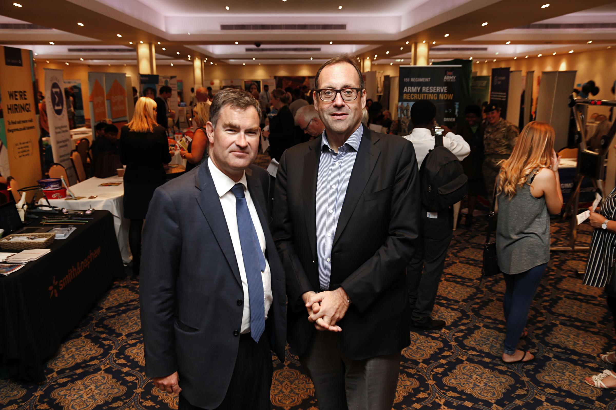 MPs David Gauke and Richard Harrington pictured at one of Mr Harrington's Jobs Fairs