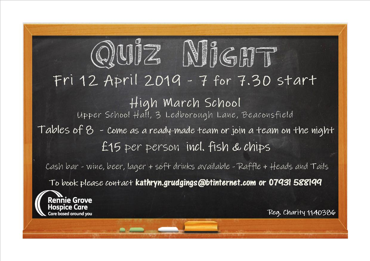 Quiz Night in aid of Rennie Grove Hospice Care