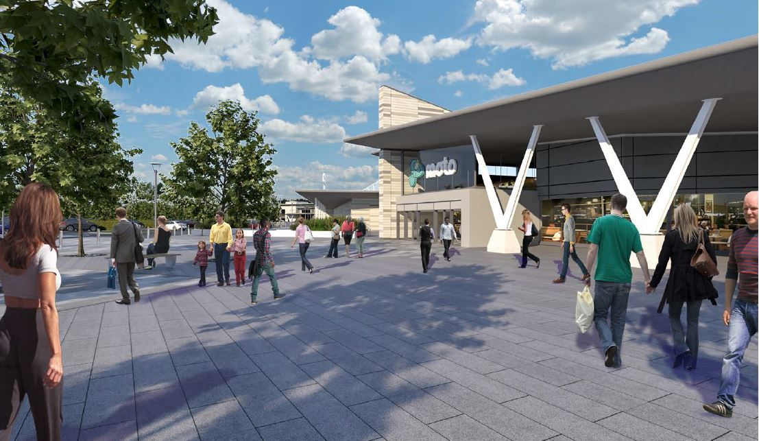 CGI of the proposed Moto service station by junction 20