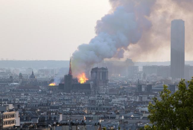 Notre Dame cathedral buring in Paris. Photo: PA
