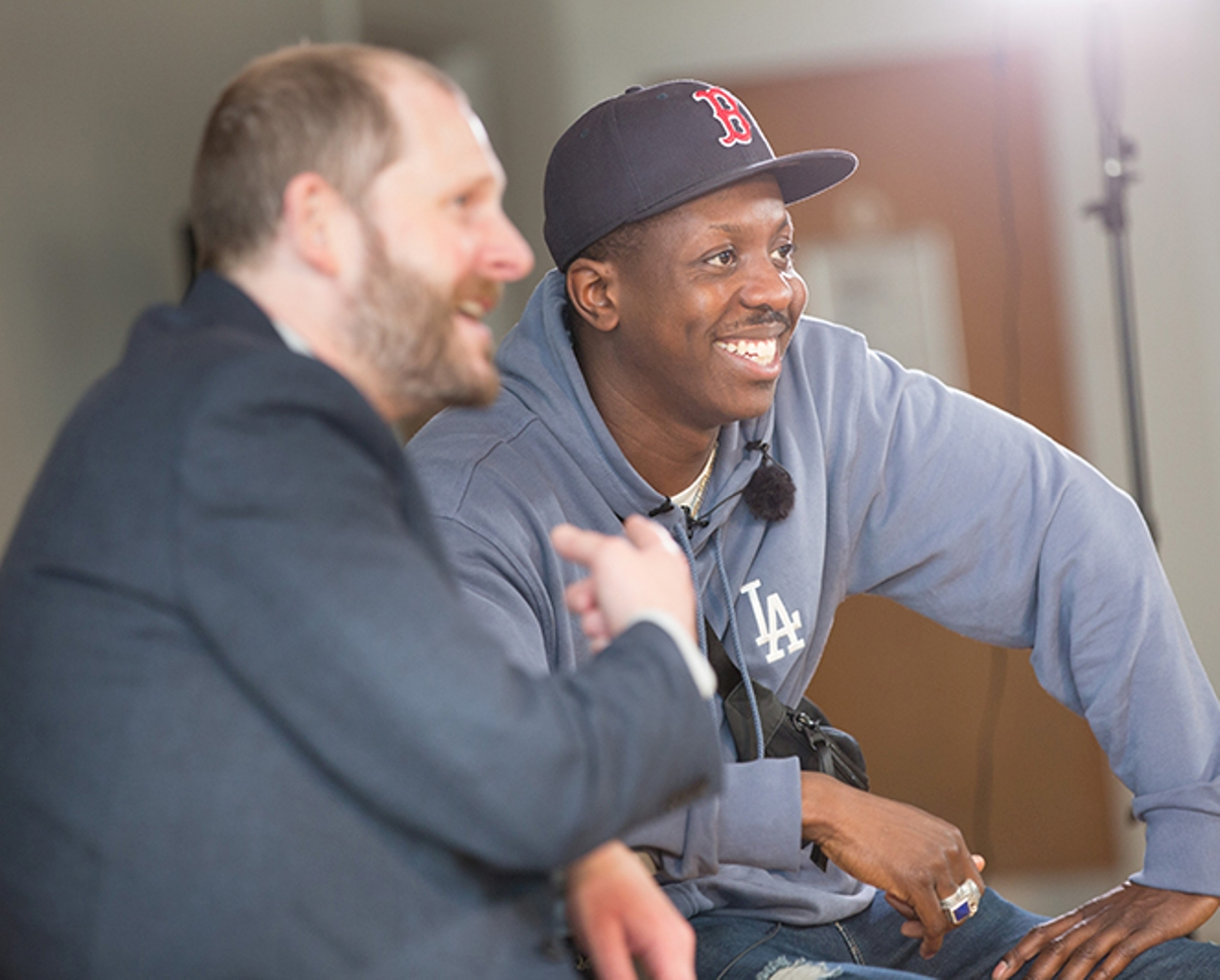 Reunion: Jamal Edwards is interviewed by his former tutor, Gareth McLennan