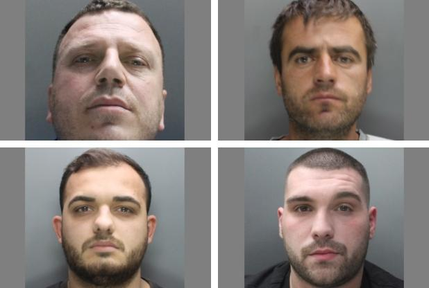 top left - Edmund Imeraj, top right - Vladimir Imeraj, bottom left - Erion Mehmetaj, and bottom right - Mateos Jubani, are four of six men who have been jailed. Photo: Herts Police